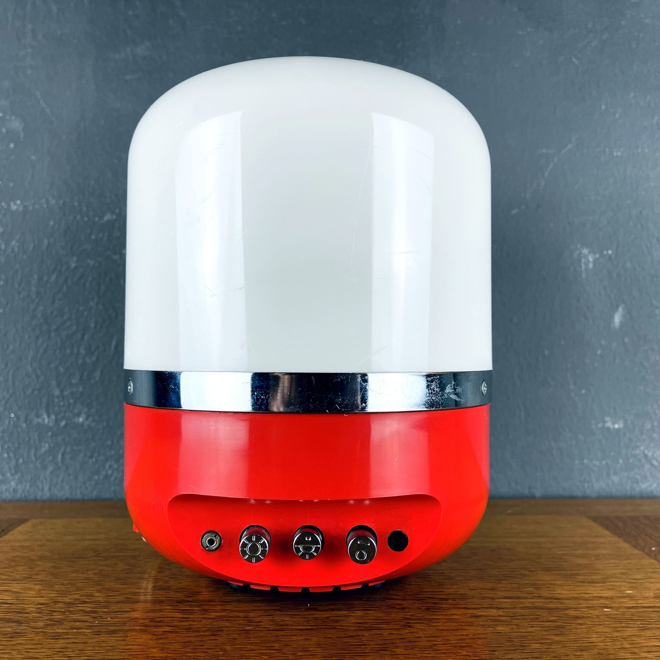 Mid-century Radio Table Lamp by Adriano Rampoldi for Europhon Milan, Italy 1970s Space Age Red White