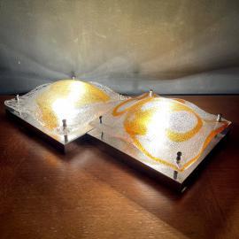 Pair of murano wall lamps Italy 1960s design Toni Zuccheri for Poliarte Ice murano glass