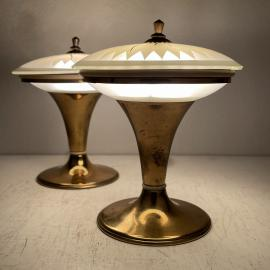 Pair of 2 vintage night lamps Italy 1950s Mid-century modern Space age light UFO table lamps