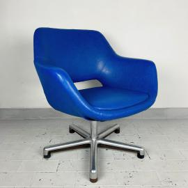 Mid-century office desk chair Stol Kamnik Yugoslavia 1970s Blue leatherette chair Swivel chrome metal leg Home office chair Egg chair