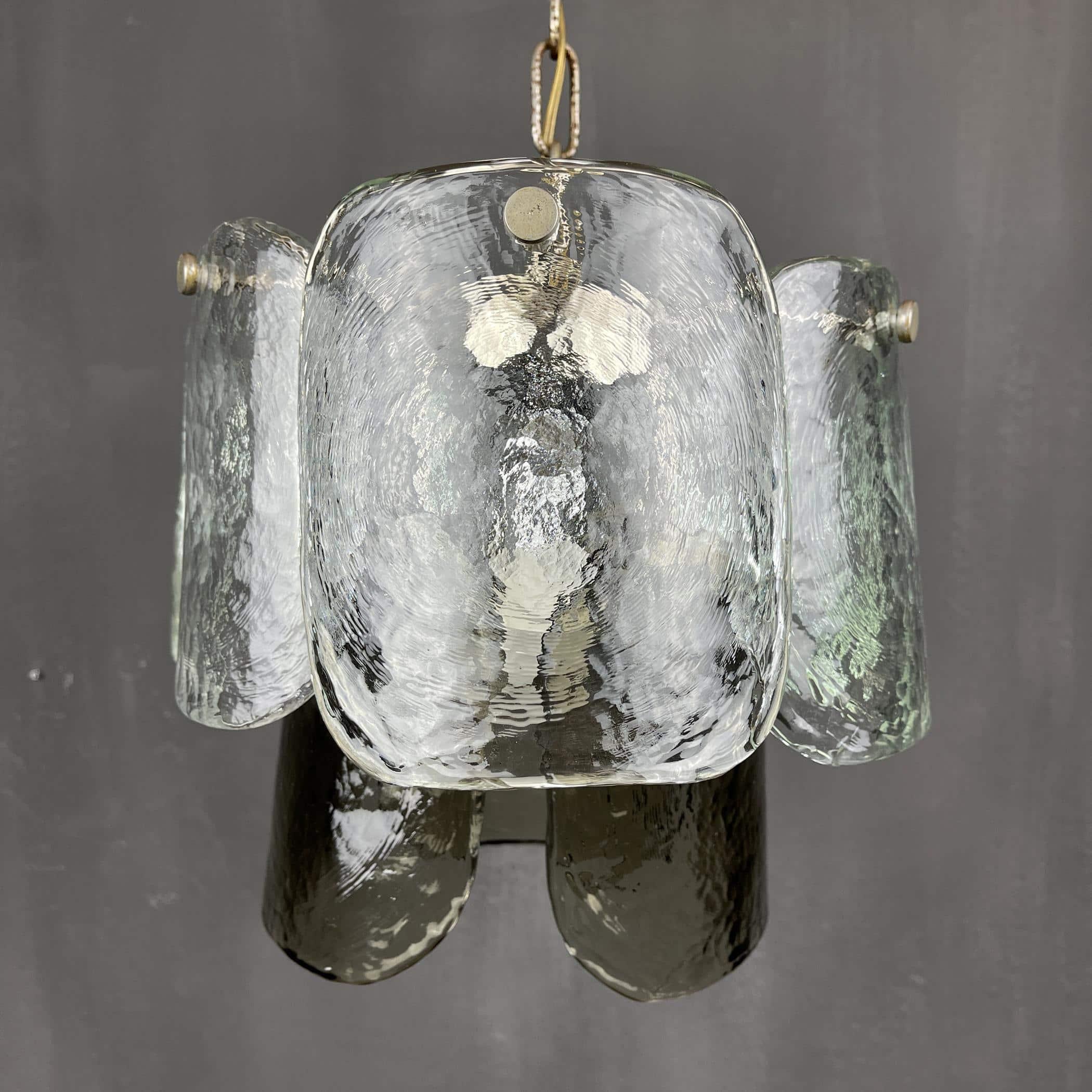 Iced murano glass chandelier by Carlo Nason for Mazzega Italy 1960s Art Murano glass handmade murano glass