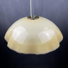 Vintage beige murano glass pendant lamp Italy 1970s Mid-century lighting Retro home decor
