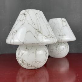 Pair of murano table lamps Mushroom Italy 1970s Italian Modern Retro home decor