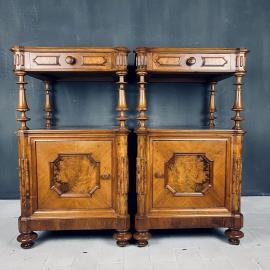 Pair of Vintage wood nightstands Italy 1950s venetian wooden bedside table