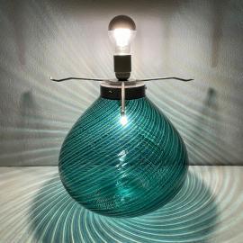 Large Murano green table lamp Italy 1970s Mid-century Italian modern Swirl murano lamp
