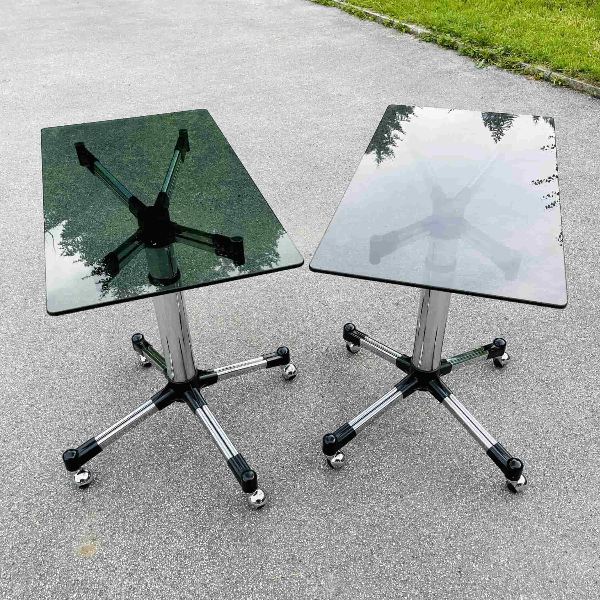 1 of 2 mid-century coffee table or trolley Italy 1980s Vintage smoked glass table Space age Italian modern