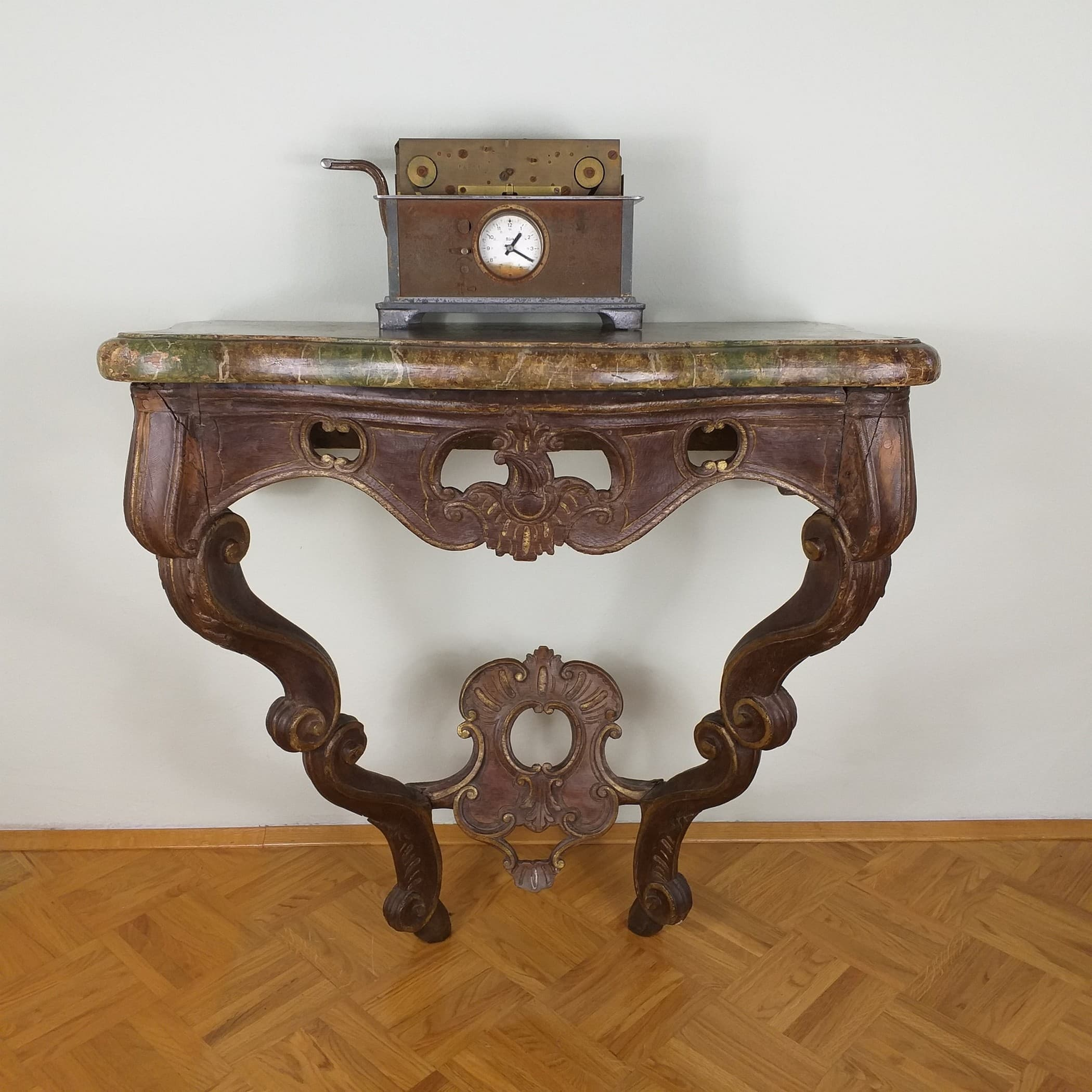 Antique old church console table 19th century Germany Original decorative wood carving Baroque