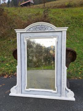 Vintage white mirror Yugoslavia 1940s Hand painting