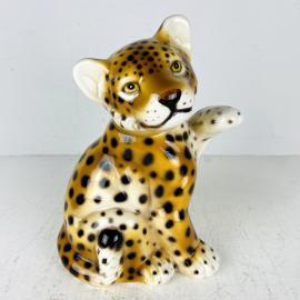 Vintage Leopard ceramic sculpture Italy 1960s Hand painted sculpture Retro home decor