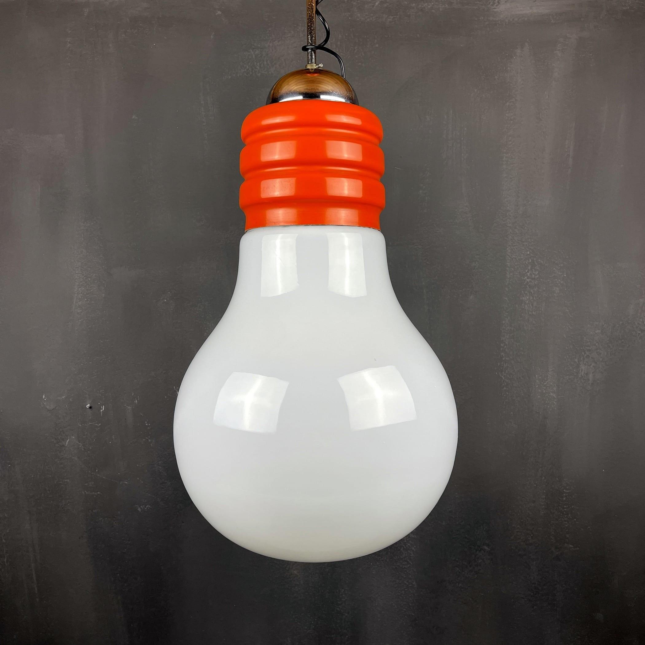 Vintage opaline glass Bulb pendant lamp Italy 1970s space age italian modern mid-century light