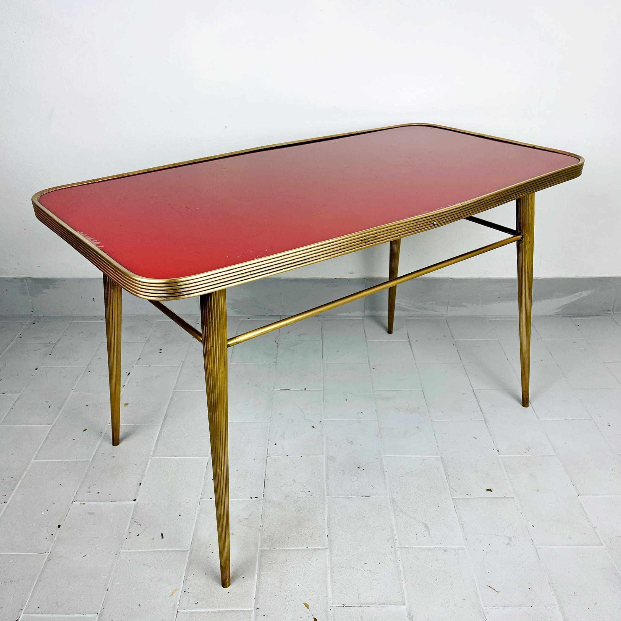 Vintage coffee table Italy 1950s Brass and Glass Red and Gold Art deco Italian Modern