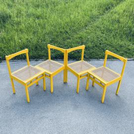 Set of 4 vintage yellow dining cane chairs Italy 1970s Scandinavian Design Mid-century Mesh Chairs