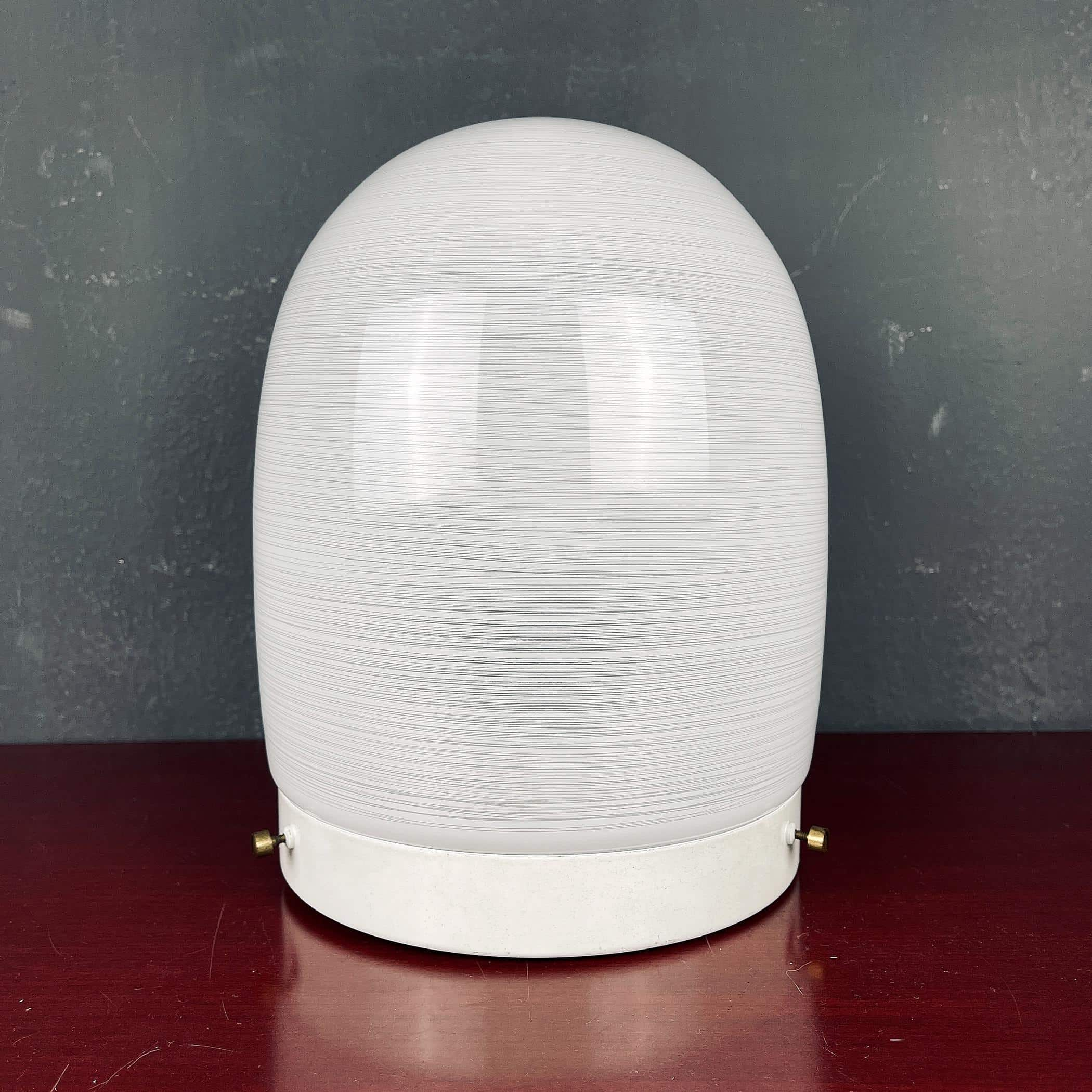 Mid-century white glass ceiling lamp Italy 1970s