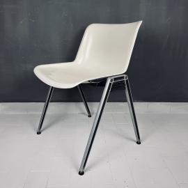 Set of 4 mid-century white dining chairs Modus by Osvaldo Borsani for Tecno Italy 1970s Modernist Italian Loft Office