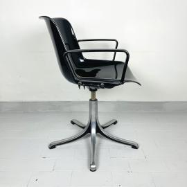 Mid-century plastic chair Modus Office by Osvaldo Borsani for Tecno Italy 1970s black desk swivel chair retro office chair