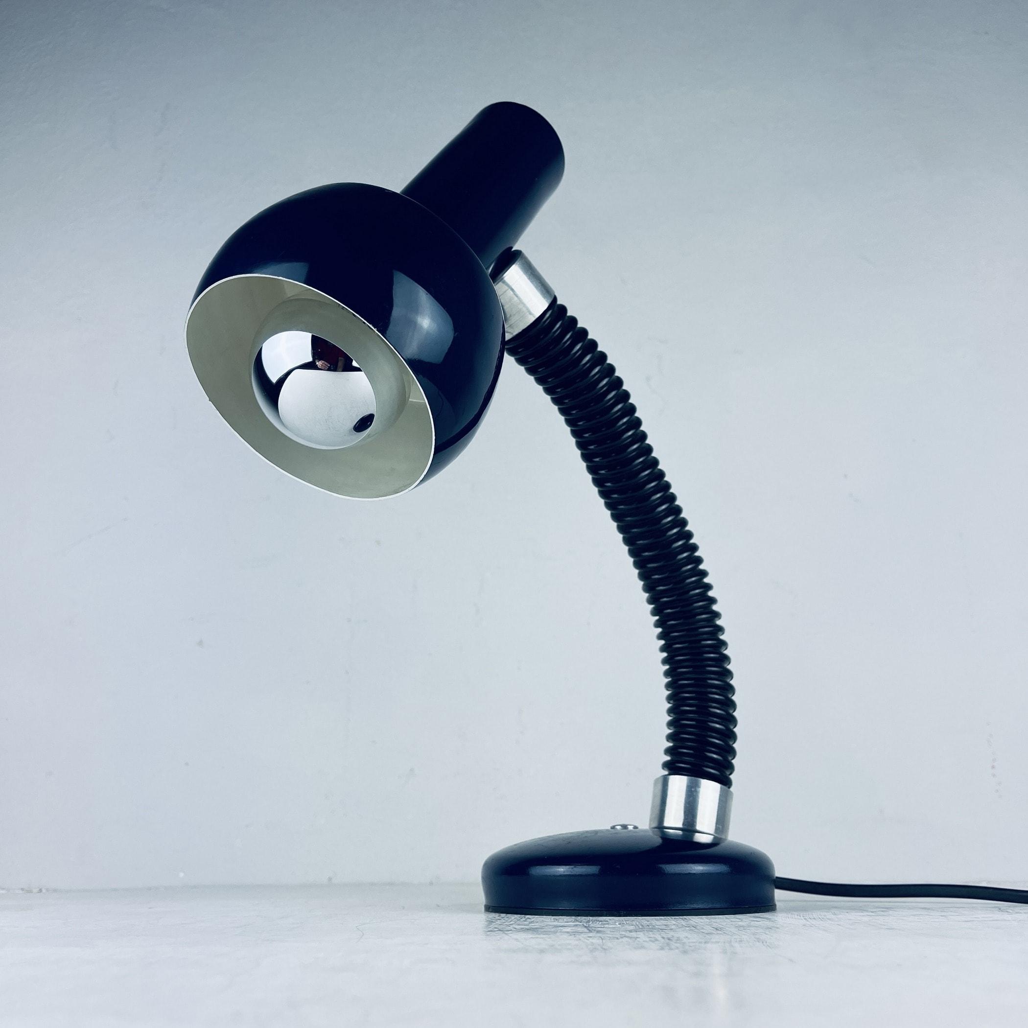 Mid-century goose blue desk lamp Italy 1970s metal retro table lamp