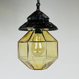 Mid-century glass metal pendant lamp ISMOS Italy 1980s Vintage ceiling lamp