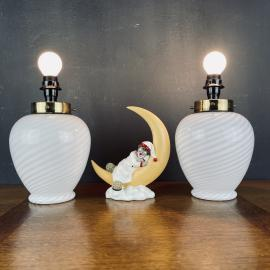 Pair of vintage swirl murano glass table lamps Italy 70s Retro white gold night table lamps space age mid-century lighting