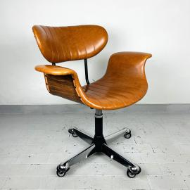 Mid-century swivel desk chair by Gastone Rinaldi for Rima Italy 1970s Vintage home office