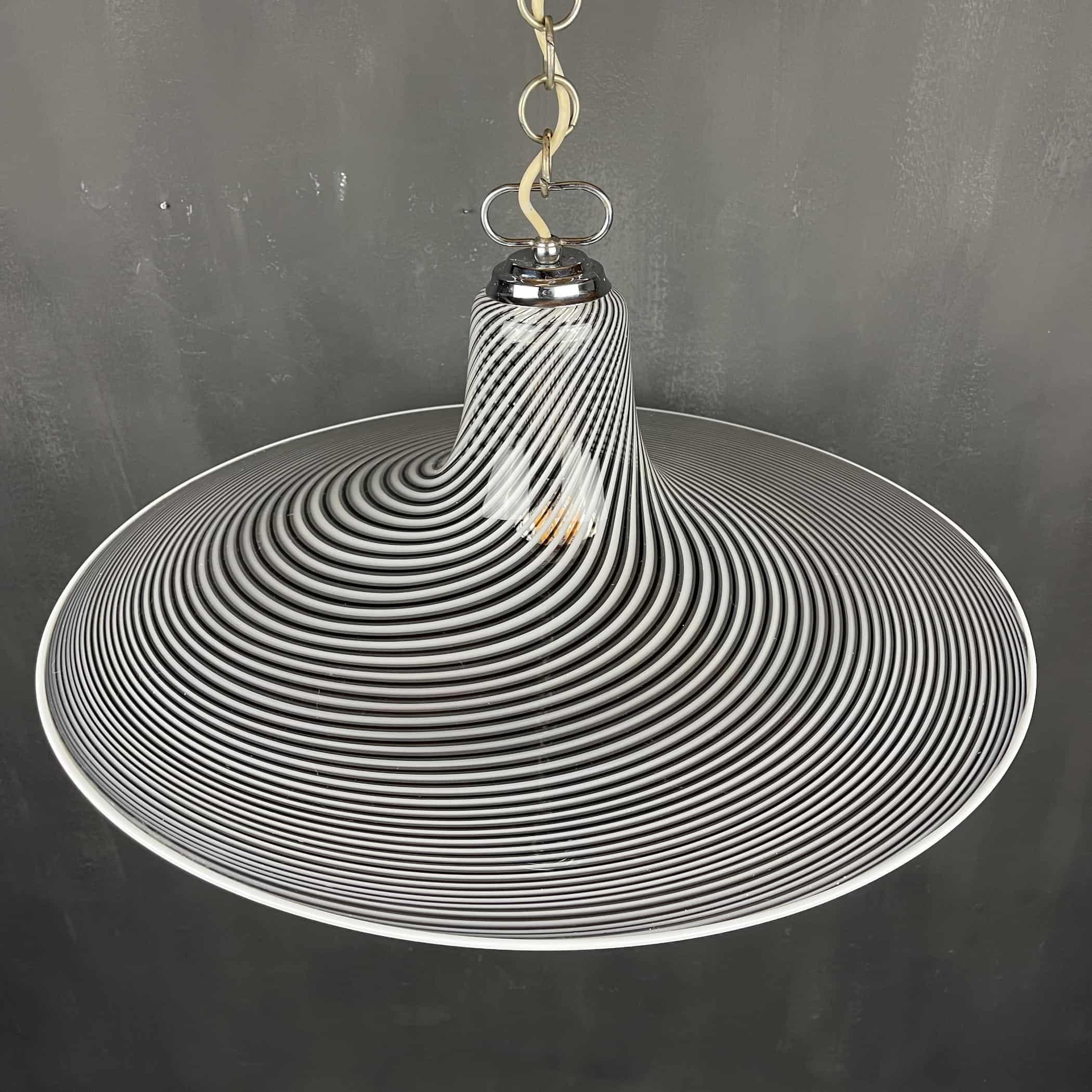 Vintage swirl Murano pendant lamp Italy 1970s Italian modern murano chandelier