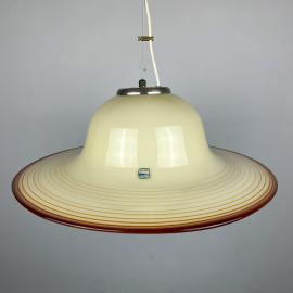 Mid-century beige murano glass pendant lamp De Majo Murano Venezia Italy 1970s Handblown murano lamp