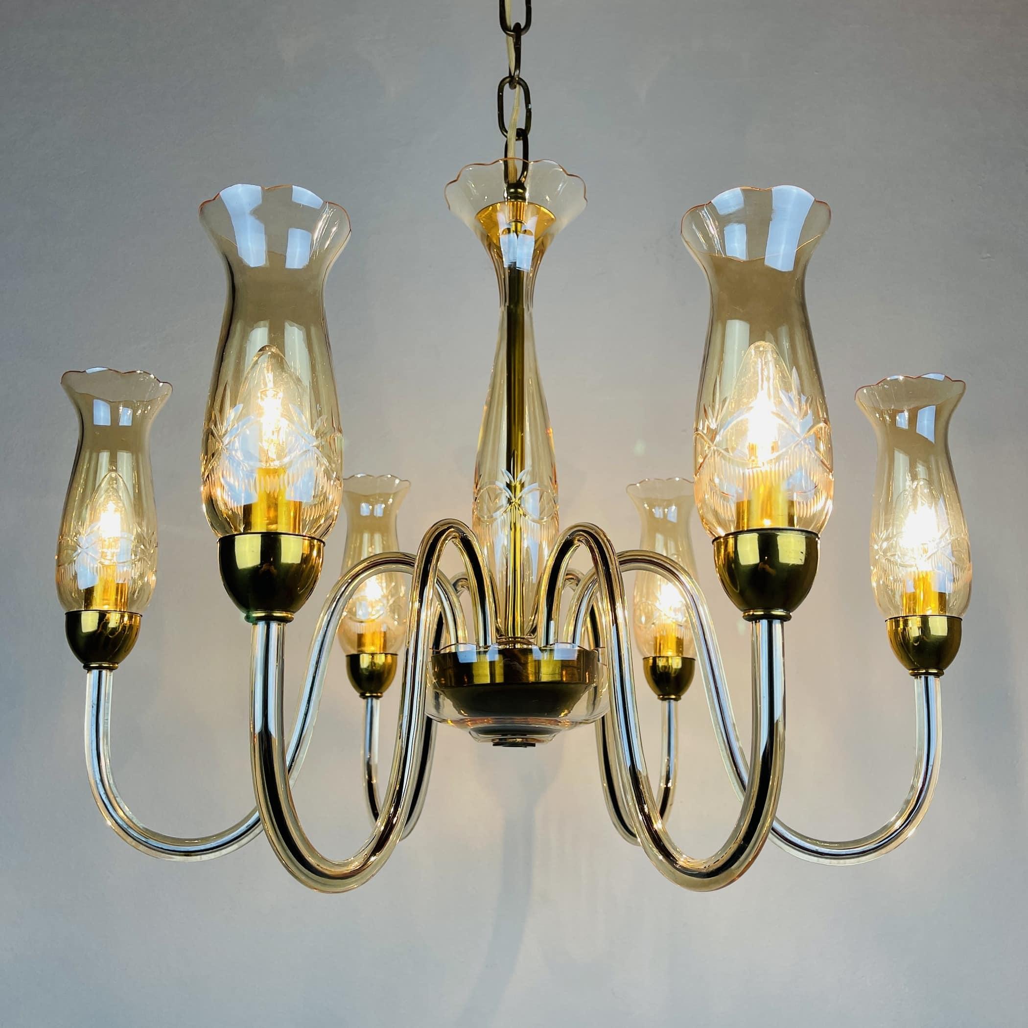 Vintage amber murano chandelier De Majo Italy 1970s Mid-century italian chandelier 6 bulbs