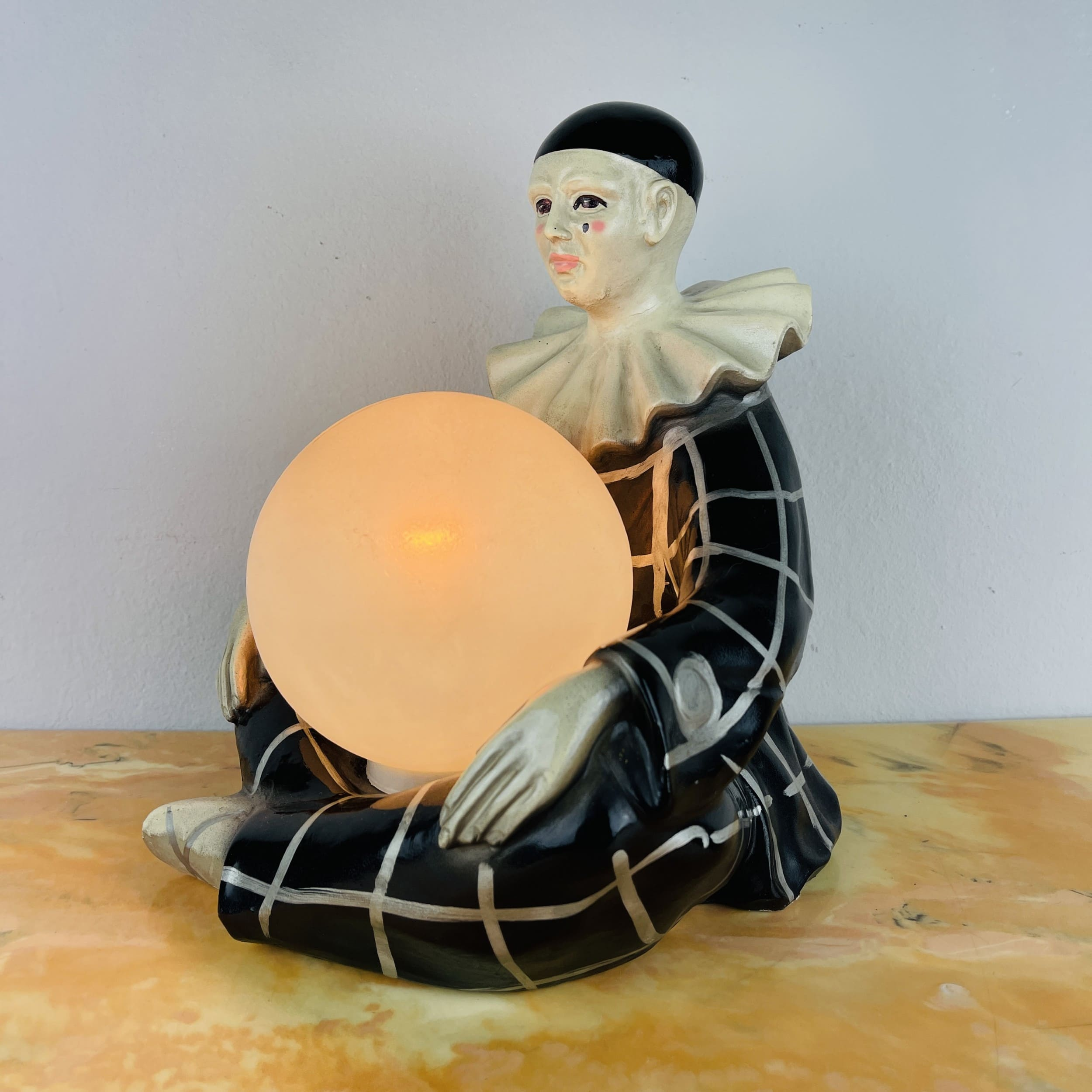 Vintage French ceramic table lamp Pierrot by Regal 1960s Clown Harlequin Mid-century night light retro home decor