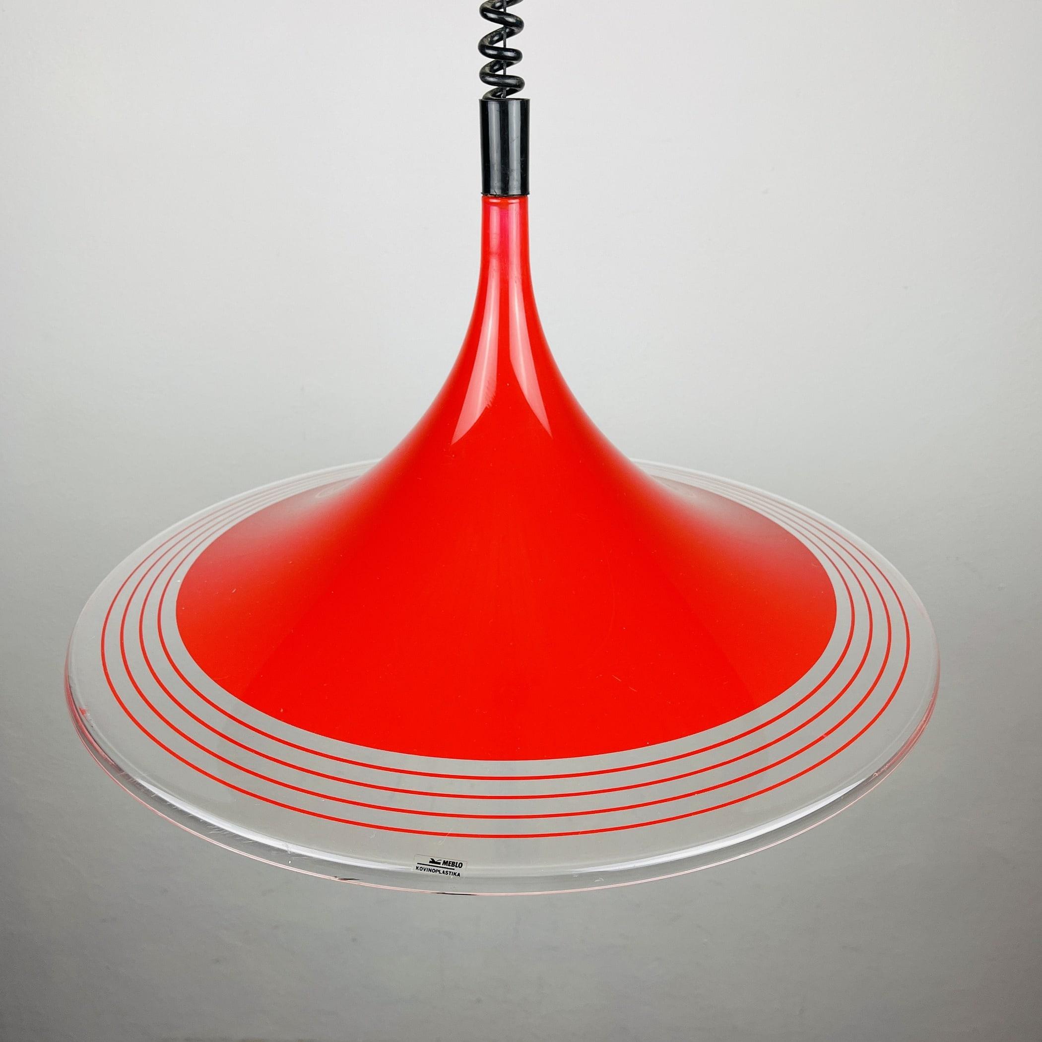 Mid-century red plastic pendant lamp Albatros Meblo Yugoslavia 1970s Space age atomic