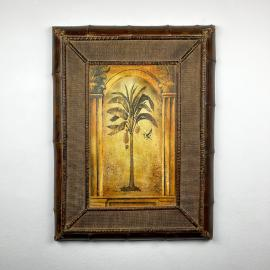 Vintage large wood bamboo decor panel 1950s retro wall decor colonial or tropical style