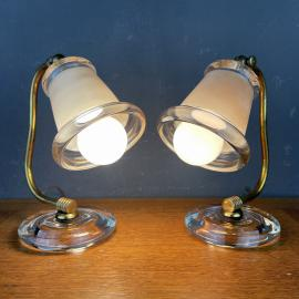 Mid-century bedside lamps Italy 1970s Set of 2 vintage table lamp retro home decor