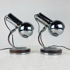 Pair of mid-century table lamps Italy 1970s Space age Atomic Retro home decor