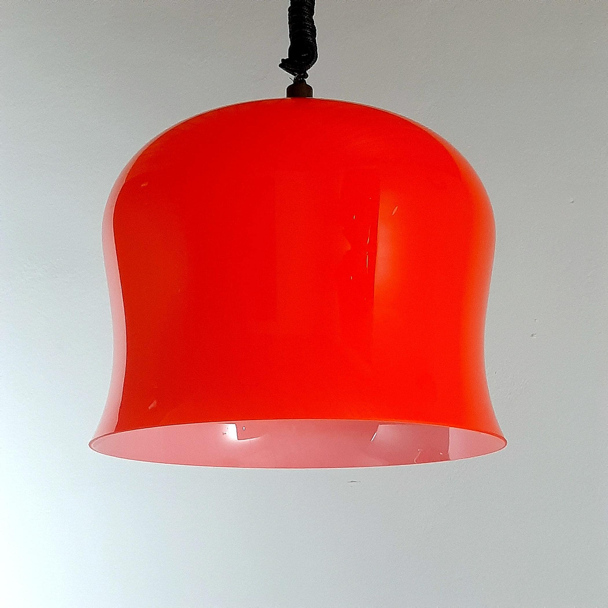 Vintage red glass pendant lamp Italy 1960s space age mid-century lighting