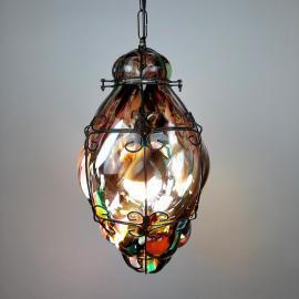 Vintage murano glass pendant lamp Italy 1980s Multicolor murano chandelier