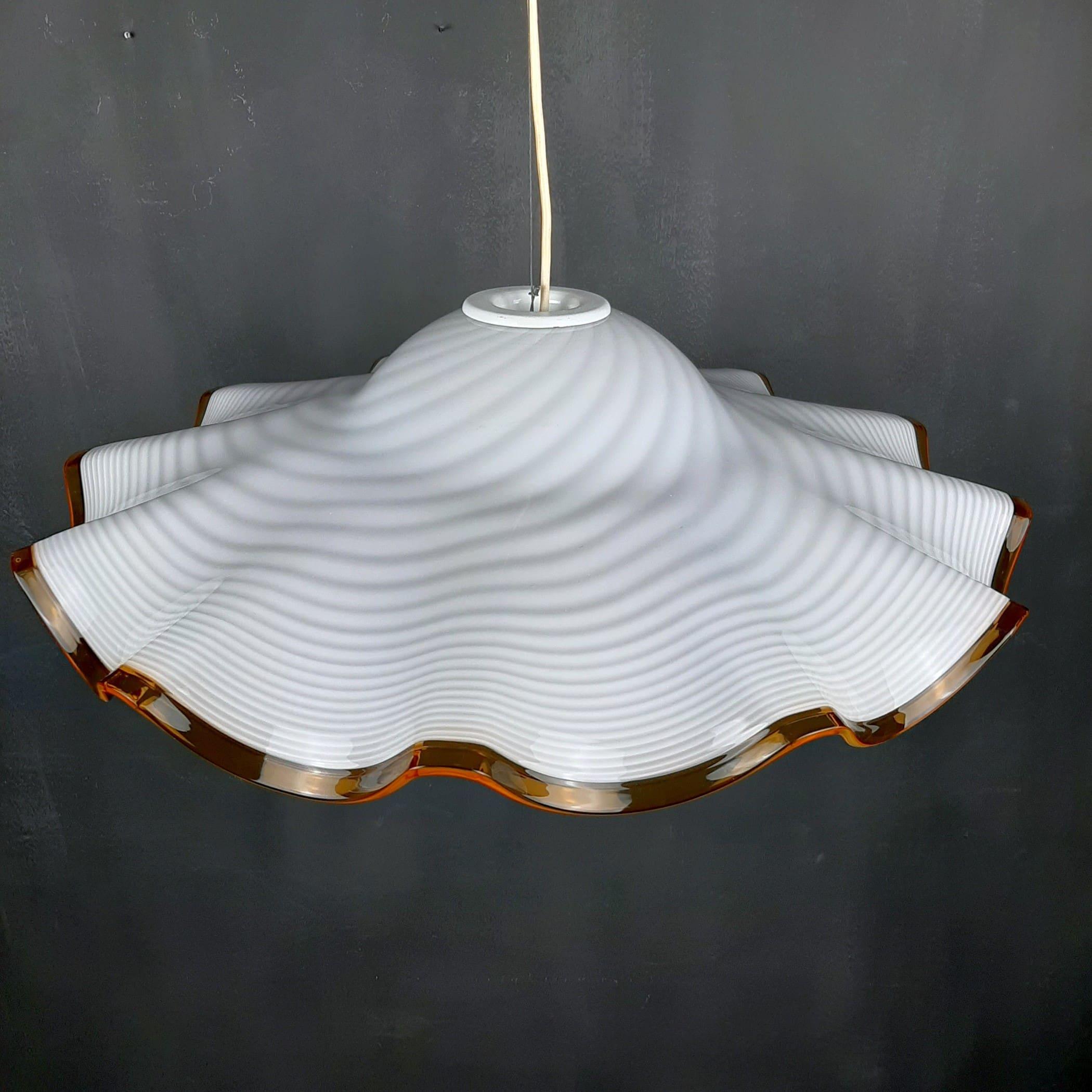Vintage swirel murano glass pendant lamp 1970s Retro home decor