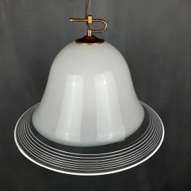 Vintage white murano glass pendant lamp Italy 1970s