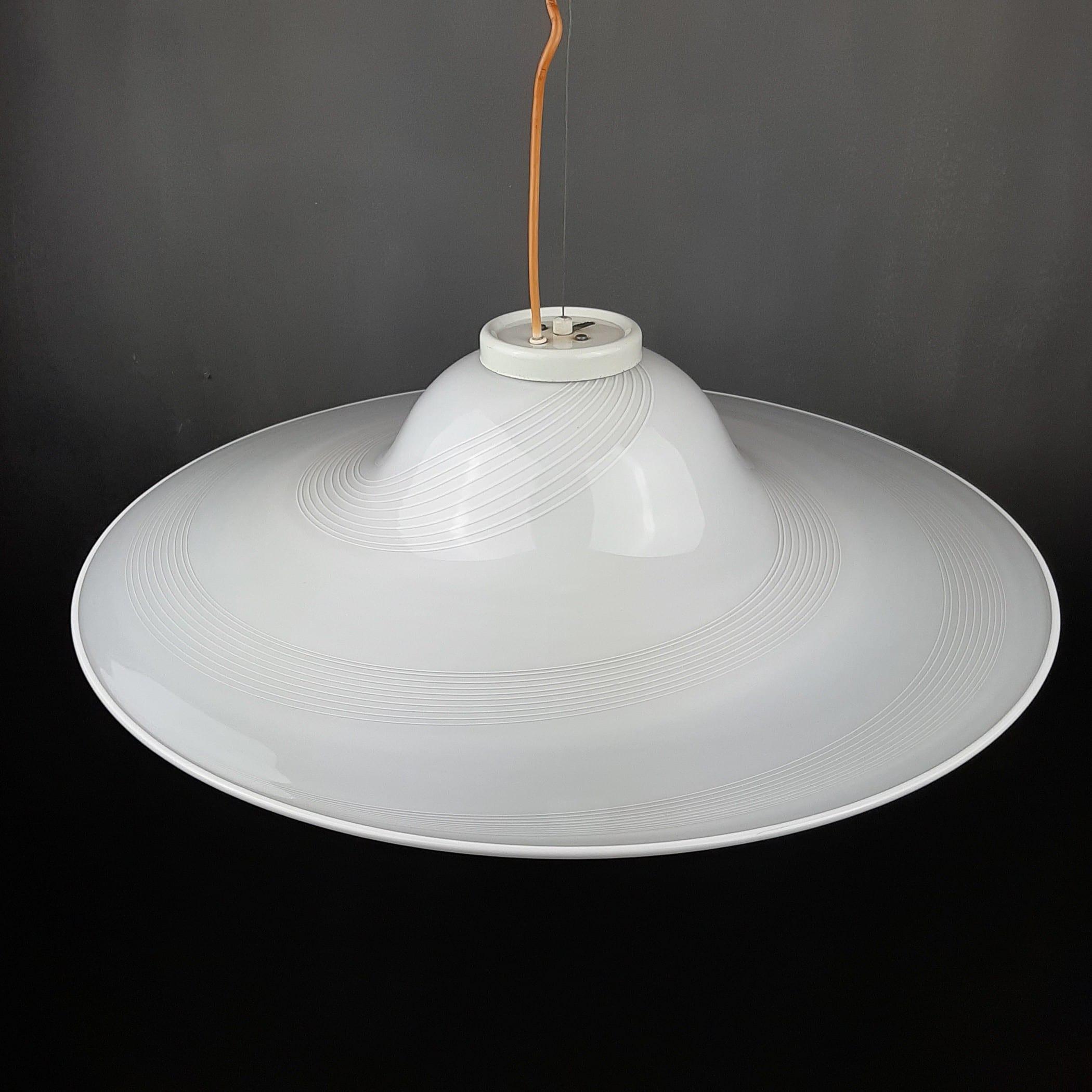 XXL Mid-century white murano glass pendant lamp Italy 1970s Retro lighting Space age UFO swirl lamp