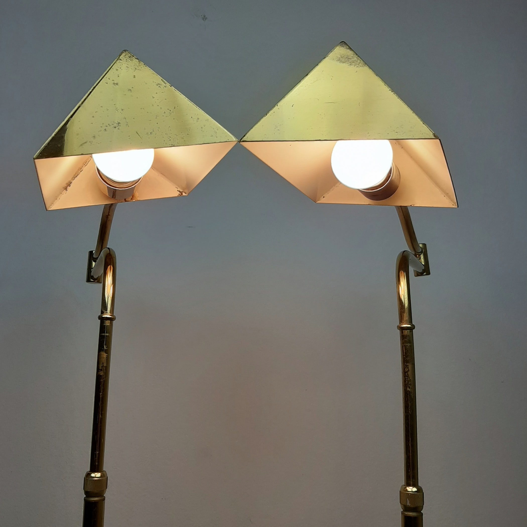 1 of 2 Mid-century brass floor lamp Germany 1970s Retro Modern Adjustable Brass Floor Lamp Style by Florian Schulz