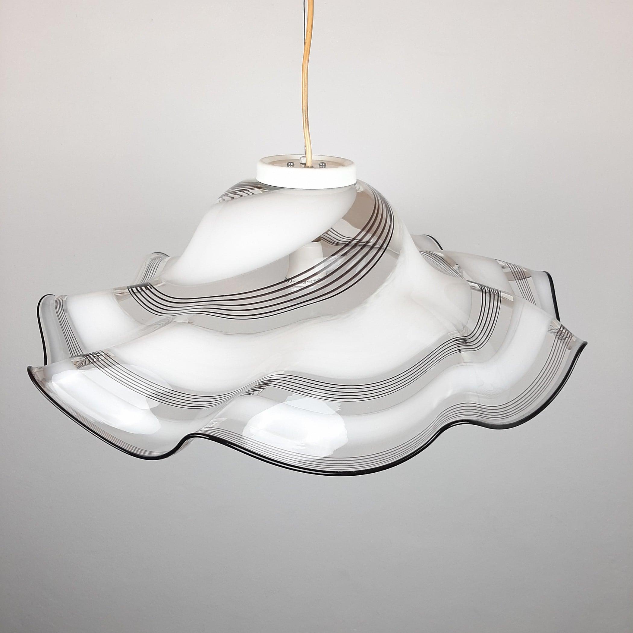 XL white choco murano glass pendant lamp Italy 1970s Mid-century lighting Retro murano