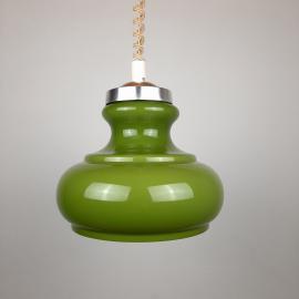 Mid-century green glass pendant lamp Yugoslavia 1970s Retro ceiling light