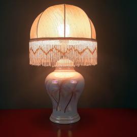 Vintage pearl ceramic table lamp Italy 1970s Retro lighting Mid-century modern