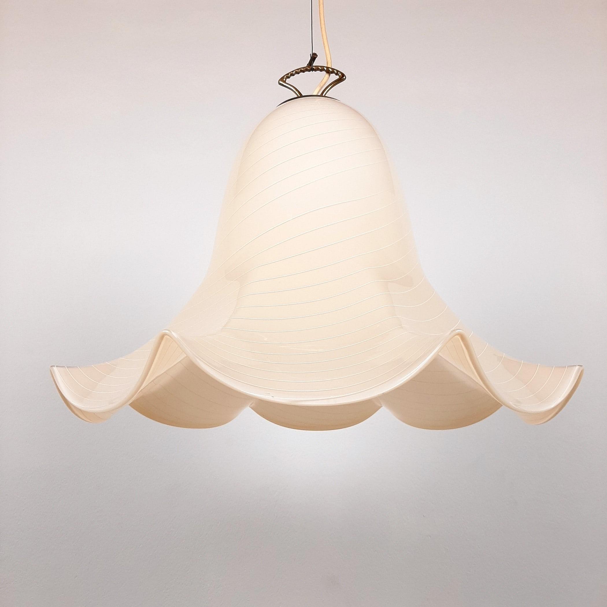 XL Retro murano glass pendant lamp Fazzoletto by J.T. Kalmar Austria 1960s Mid-century home decor