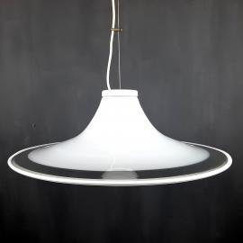 Murano glass white pendant lamp Italy 1970s Mid-century lighting XL ceiling lamp