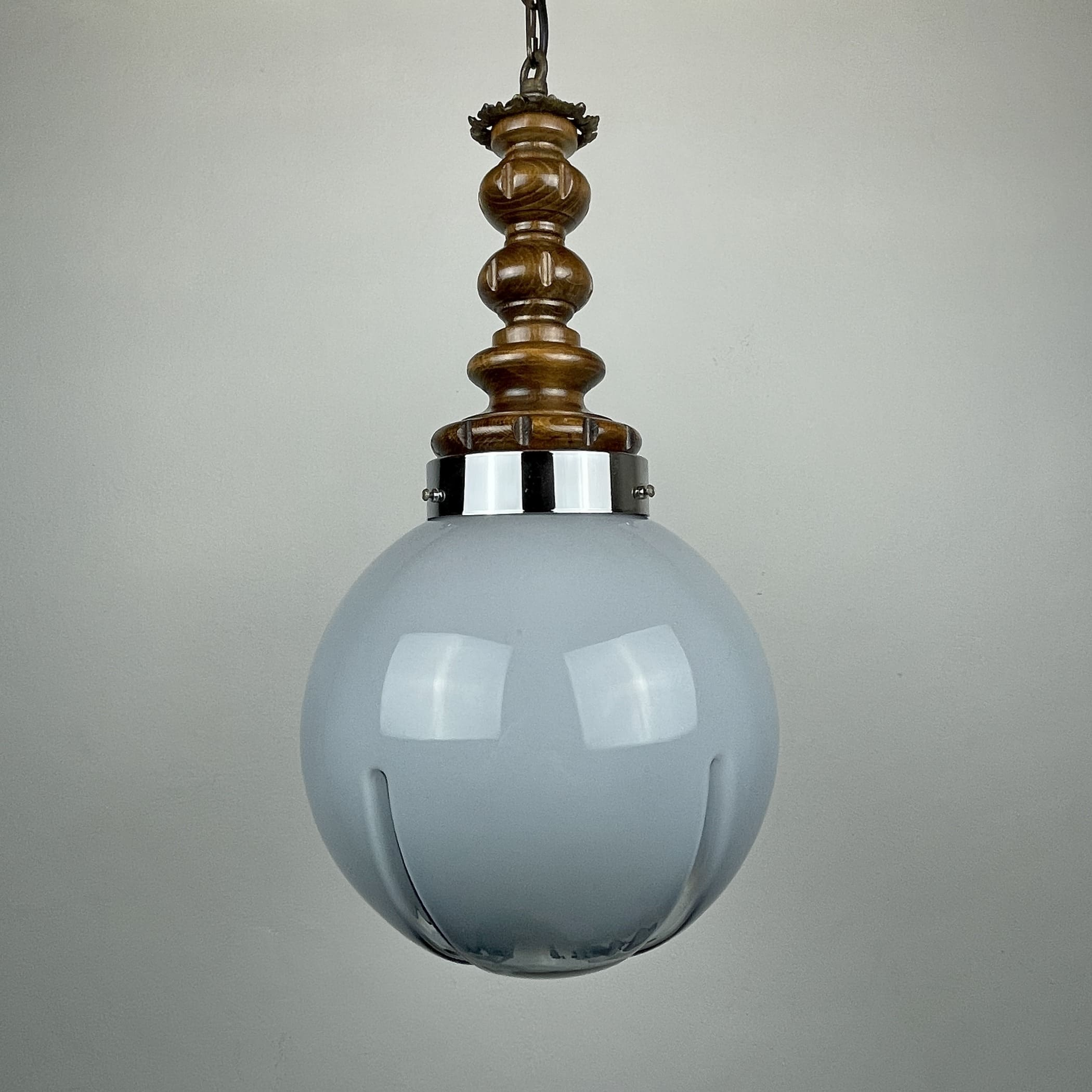 Mid-century blue murano pendant lamp Mazzega Italy 1970s