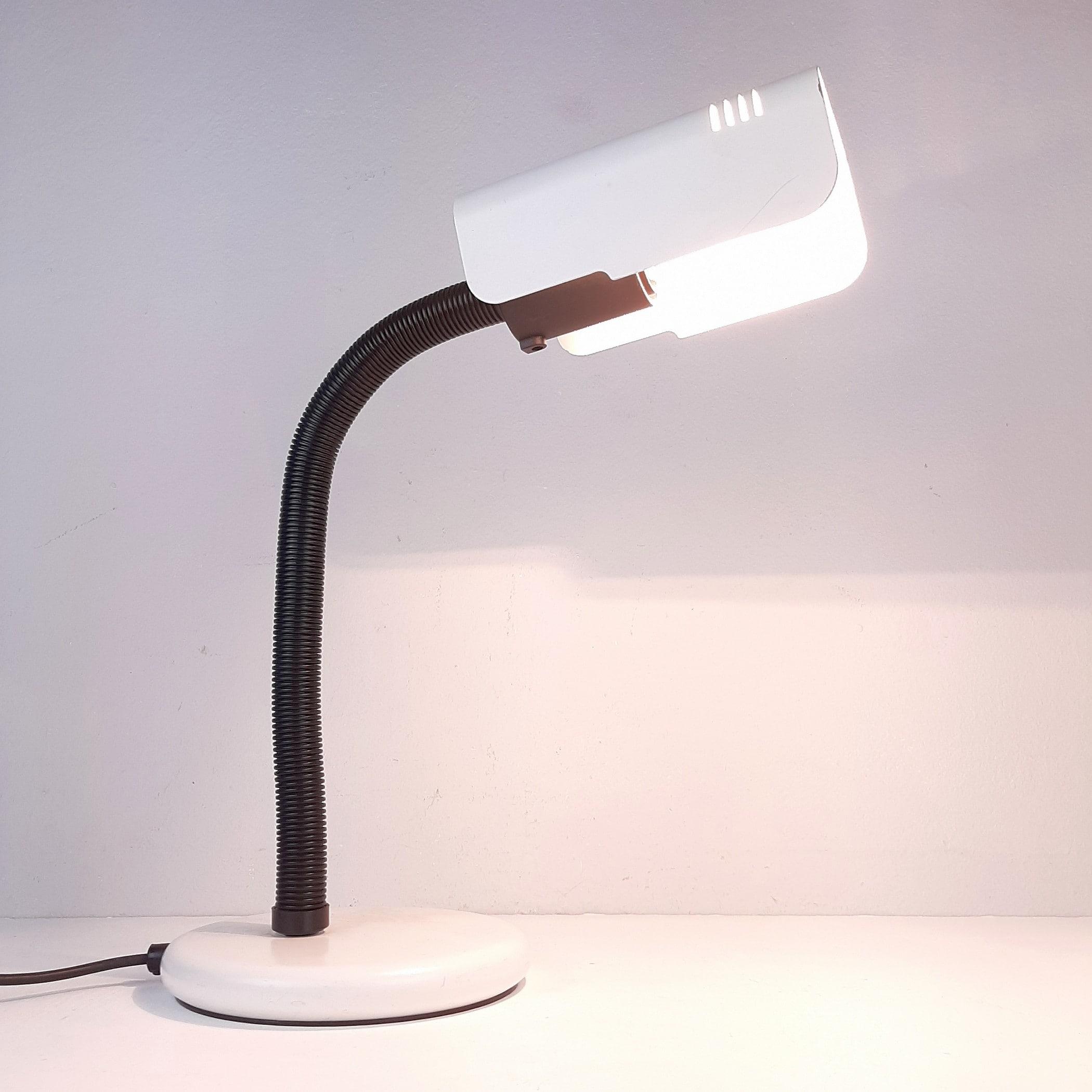 Mid-century Italian Targetti Design Gooseneck Desk Lamp Adjustable Italy 80s