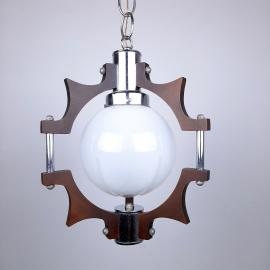 Mid-century murano glass pendant lamp Mazzega Italy 1970s Geometric Chandelier Retro Ceiling lamp Space Age