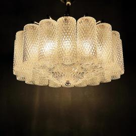 Vintage glass chandelier Italy 1960s Retro home decor Vintage lighting space age