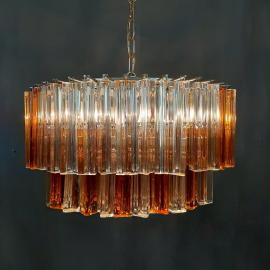 Murano glass Crystal Prism Chandelier Italy 1960s 58 trasparent and amber Triedri prism