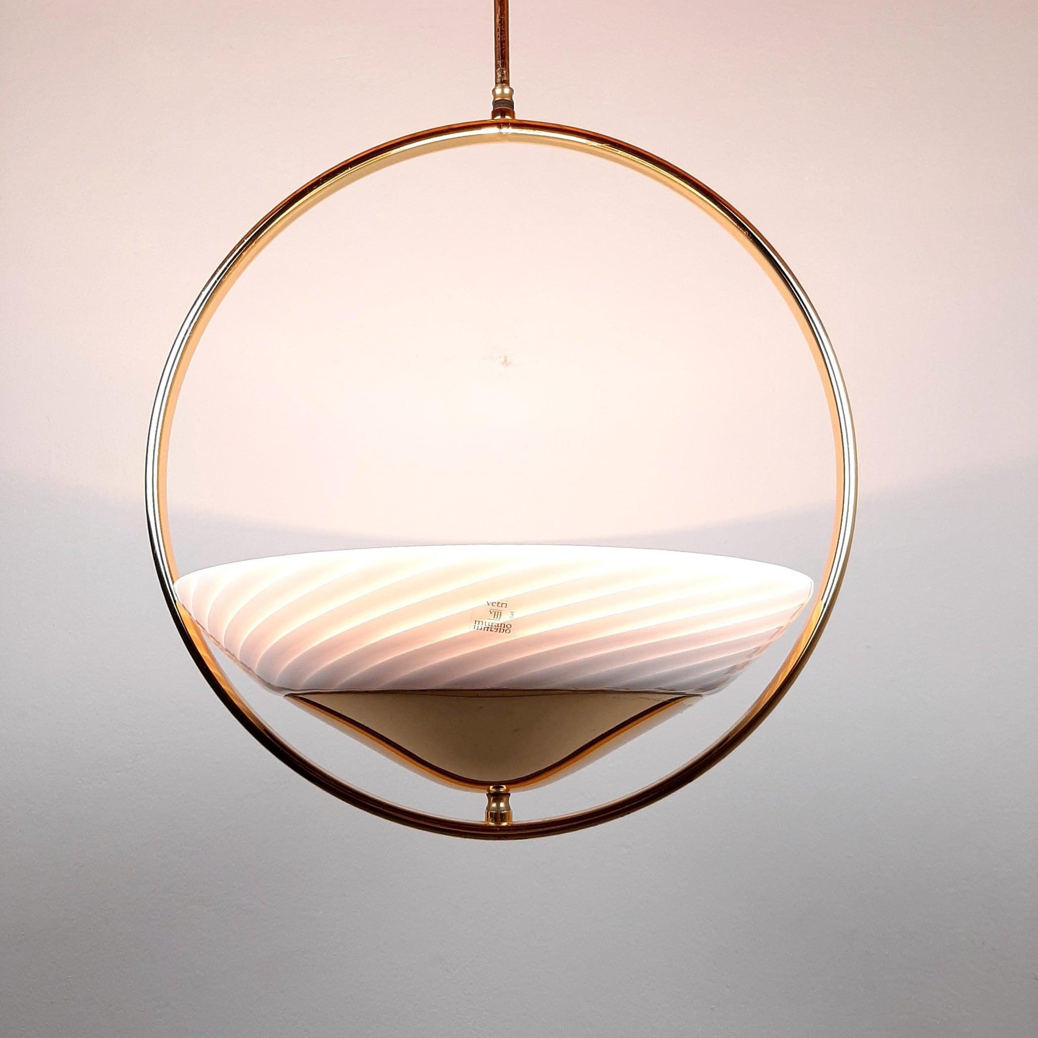 Retro swirl murano glass pendant lamp Italy 80s Mid-century light White Gold