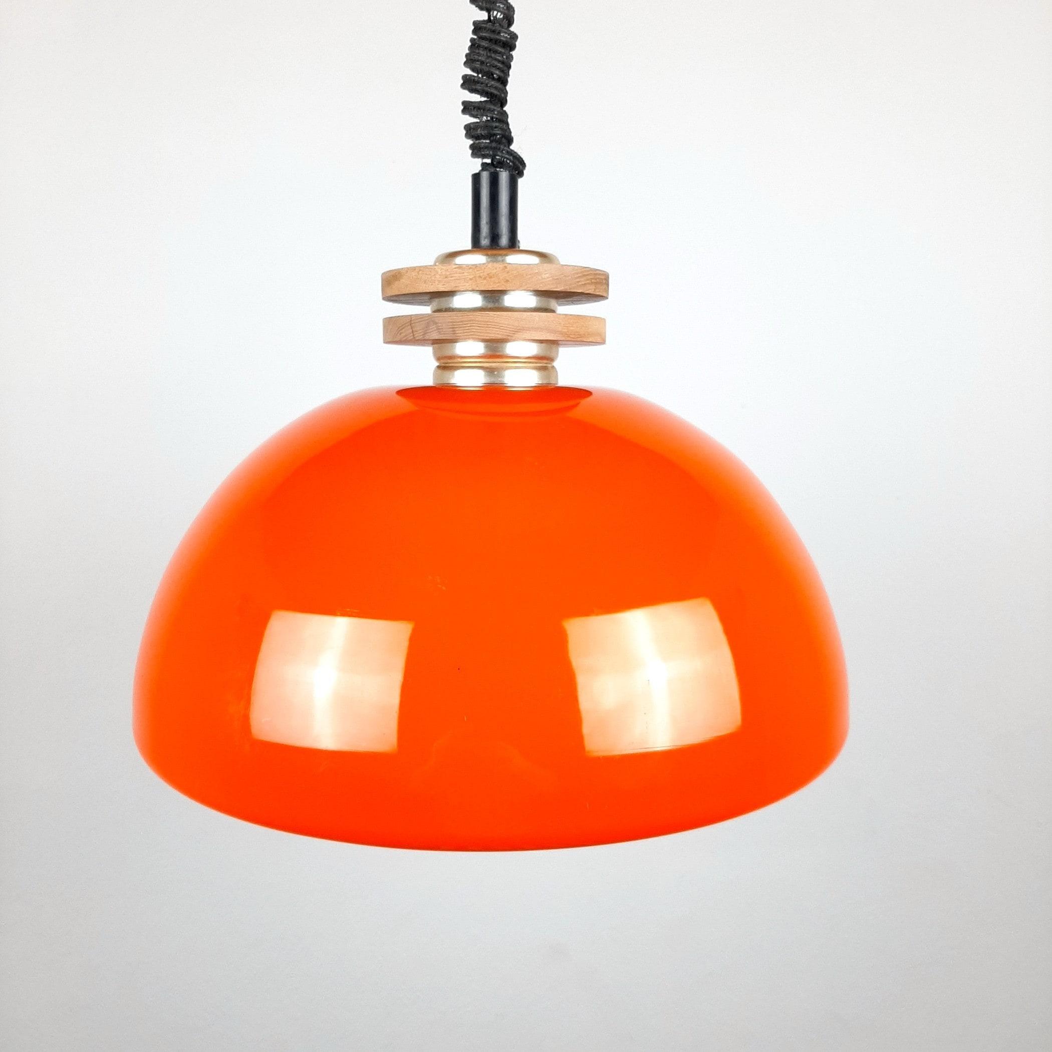 Mid-century orange glass pendant lamp Yugoslavia 1970s space age retro home decor
