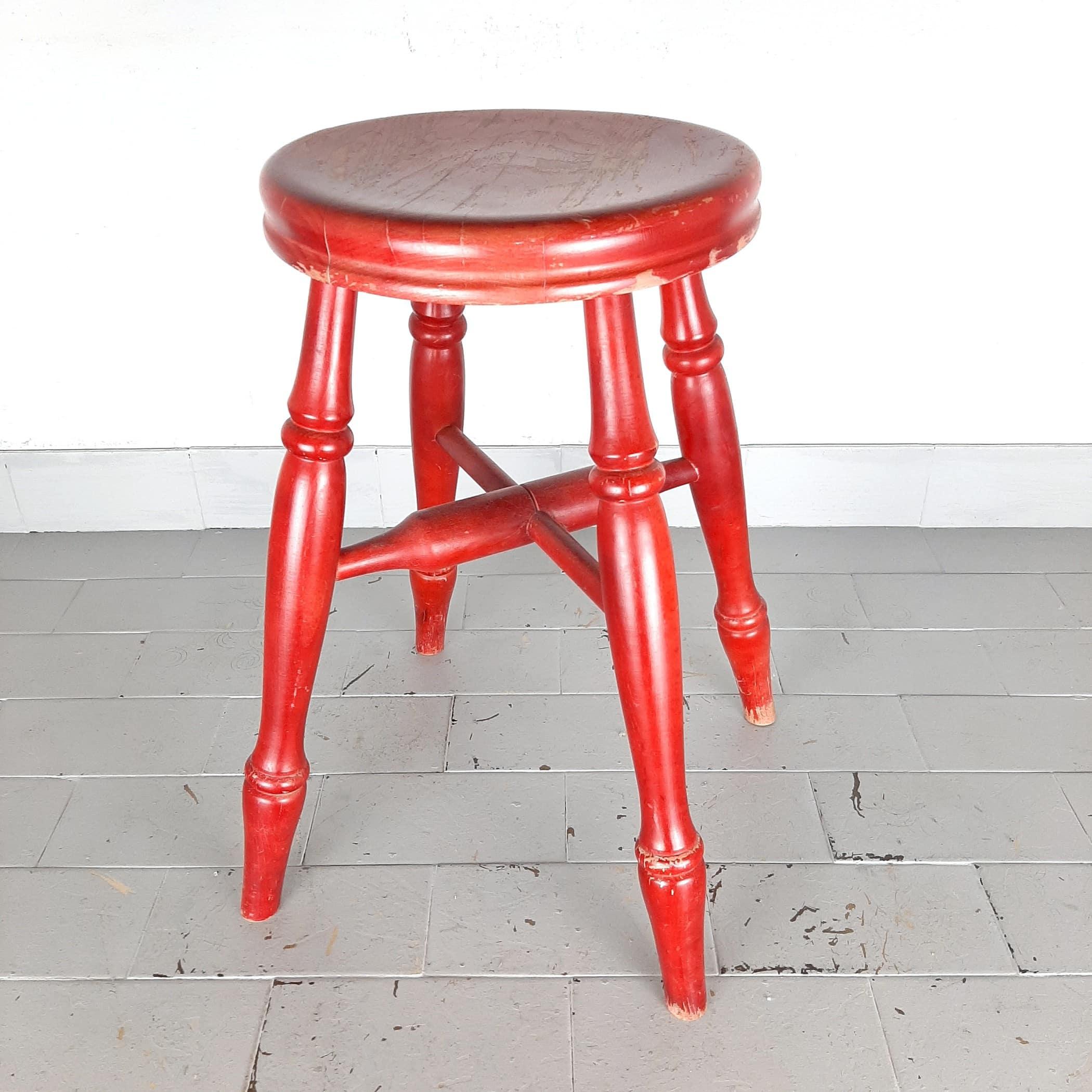 Mid-century red wood stool Yugoslavia 60s retro home decor vintage tabouret